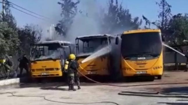 احتراق ( 3 ) حافلات تابعة لكلية جامعية خاصة في إربــــد